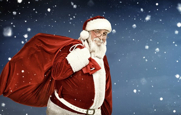 Picture winter, snowflakes, background, holiday, hat, glasses, Christmas, gifts, New year, gloves, coat, beard, bag, Santa …