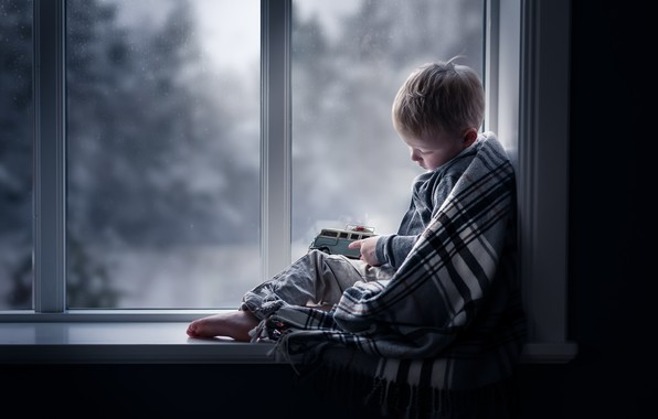 Picture toy, boy, window
