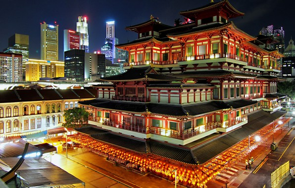 Picture night, lights, Singapore, Buddhist temple, the Museum complex
