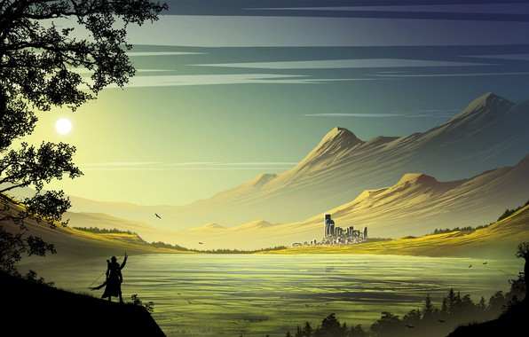 Picture the sun, mountains, castle, warrior, pond