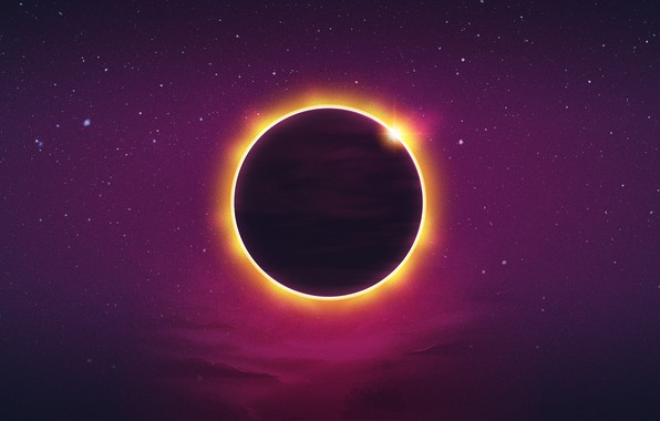 Picture The sun, Minimalism, Music, Stars, Planet, Background, Eclipse, Synth, Retrowave, Synthwave, New Retro Wave, Futuresynth, ...