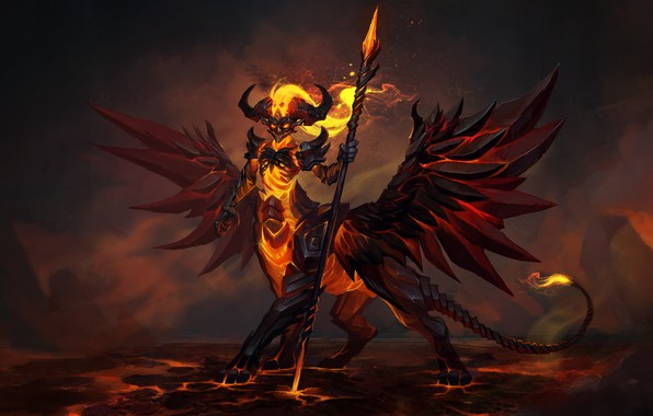 Picture look, fire, the demon, fantasy, art, lava, spear