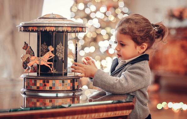 Picture toy, girl, carousel, child, bokeh, Anna Ipatiev