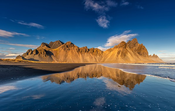 Picture sea, beach, the sky, water, the sun, clouds, mountains, reflection, coast, Iceland