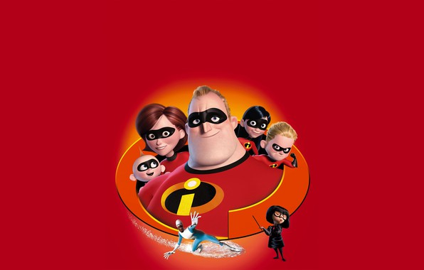 Picture fiction, cartoon, Disney, Pixar, poster, red background, characters, Incredibles 2, The incredibles 2