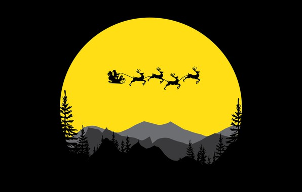 Picture trees, minimalism, mountains, digital art, artwork, Santa Claus, deer, silhouette, simple background, sled