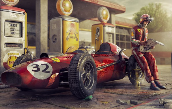 Picture Retro, People, Machine, Racer, Ferrari, Car, Dressing, The car, Champion, Cup, F-1, Rendering, Rendering, Retro, …