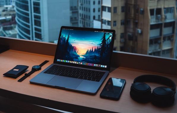 Picture notebook, headphones, window, smartphone, desk, watches