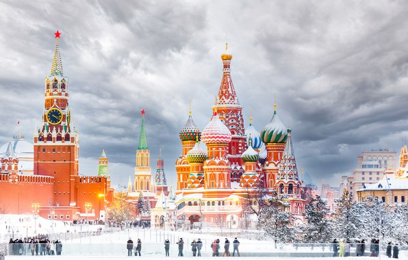 Picture winter, area, Moscow, tower, temple, St. Basil's Cathedral, Russia, Red square, Spasskaya tower, The Moscow …