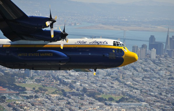 Picture the city, the plane, Lockheed, military transport, Hercules, Blue Angels, C-130, USMC, US Marines
