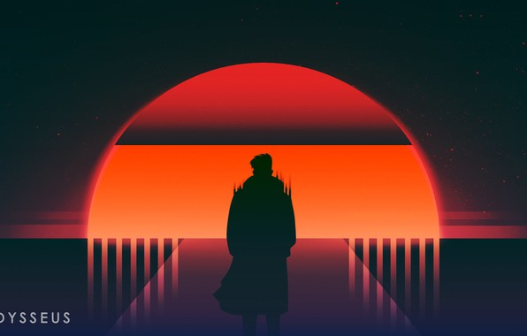 Picture Sunset, The sun, Music, People, Star, Silhouette, Neon, Odysseus, Immortal, Synth, Retrowave, Synthwave, New Retro ...