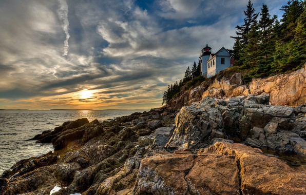 Picture clouds, trees, landscape, sunset, nature, stones, the ocean, rocks, coast, lighthouse, ate, national Park, Acadia, …