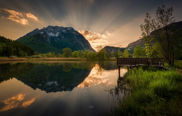 Picture sunset, mountains, nature, lake, reflection