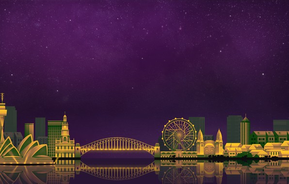 Picture The sky, Minimalism, Night, The city, Sydney, Art, Digital, Sydney, Illustration, Game Art, by Caio …