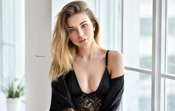 Picture look, model, portrait, makeup, hairstyle, blonde, beauty, posing, in black, bokeh, sexy, window, Maxim Romanov, …