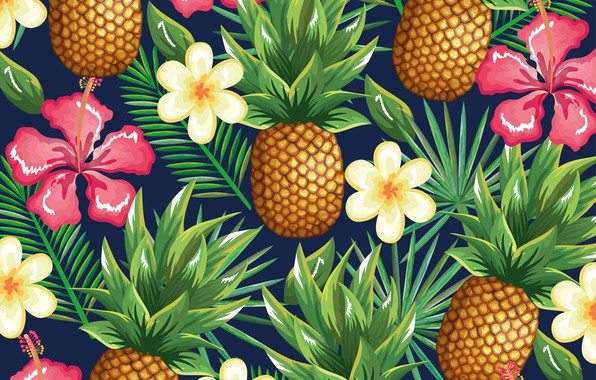 Picture flowers, background, pineapple, flowers, pattern, pineapple, tropical, tropic, floral