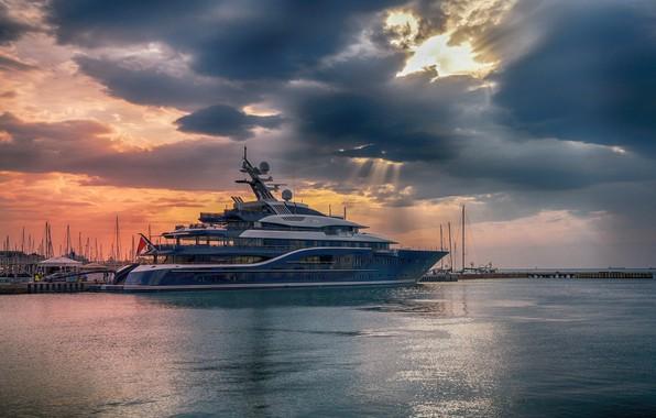 Picture sea, sunset, yacht, pier, port