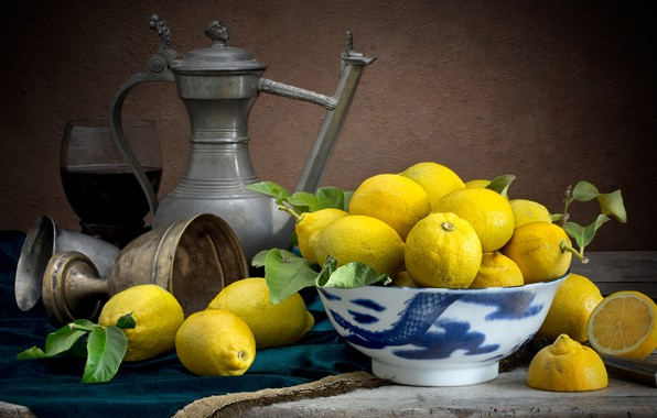 Picture the dark background, food, dishes, pitcher, fruit, still life, lemons, composition