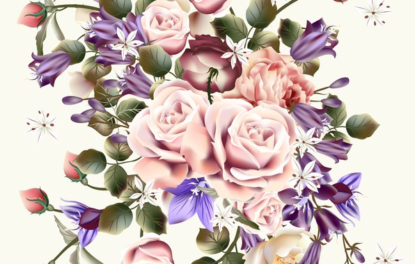 Picture flowers, retro, Wallpaper, roses, white background, buds, vintage