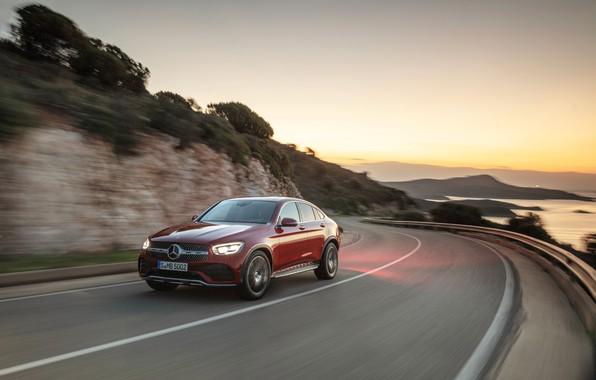 Picture asphalt, sunset, movement, Mercedes-Benz, coupe, crossover, GLC