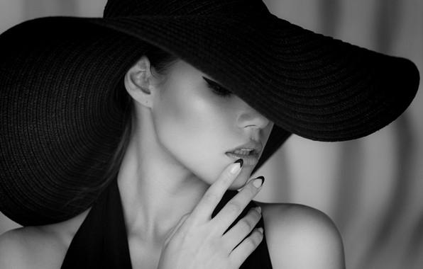 Picture black & white, fashion, dress, hat, style, photo, photographer, monochrome, model, lips, face, b&w, portrait, …