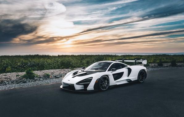 Picture road, white, supercar, sports car, McLaren Senna