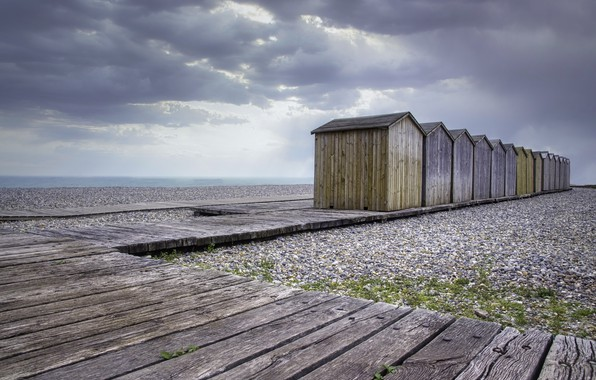 Picture sea, beach, shore, houses