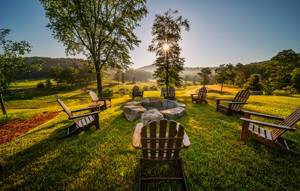 Picture grass, nature, sunset, wood, chairs, rest, stove