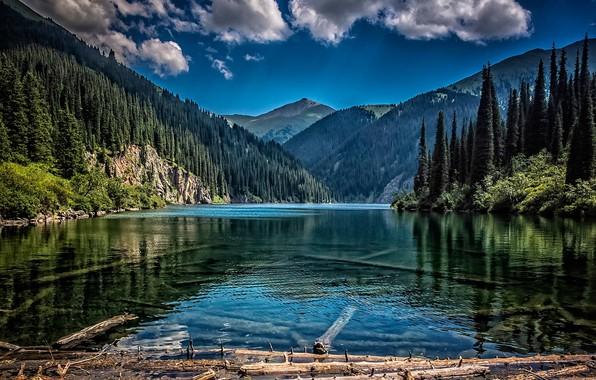 Picture forest, mountains, lake, Kazakhstan, Kolsay Lake, Kazakhstan, Tien Shan, Middle Kolsai Lake, National Park Kolsay …