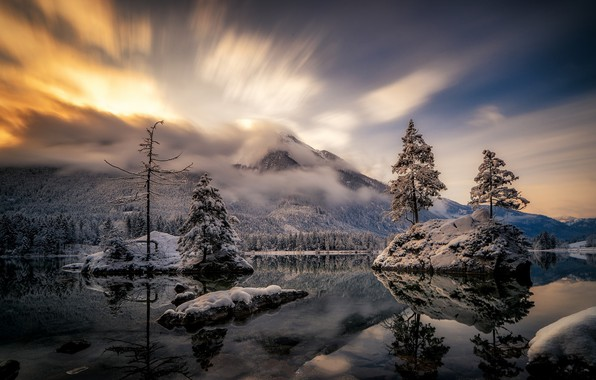 Picture winter, the sky, landscape, mountains, nature, lake, beauty