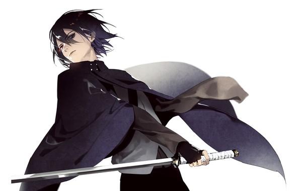 Picture look, katana, white background, guy, cloak, Sasuke Uchiha, Naruto Shippuden, Naruto shippuuden, Boruto Naruto the …