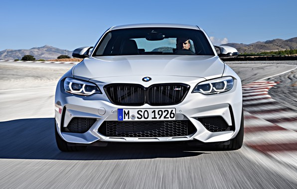Picture movement, coupe, track, BMW, front view, 2018, F87, M2, M2 Competition