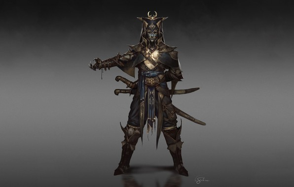Picture Fantasy, Art, Warrior, Minimalism, Sword, Soldier, Mask, Characters, Armor, Swords, Ottoman, Gianluca Rolli, Ottoman Janissary