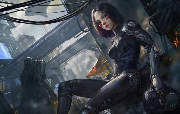 Picture robot, art, cyborg, robot, cyberpunk, cyberpunk, cyborg, futuristic, Alita: Battle Angel, Alita