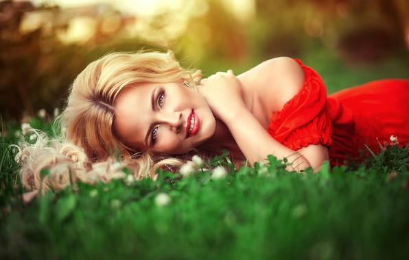 Picture summer, grass, look, girl, nature, makeup, dress, blonde, shoulders, Anna Morgunova