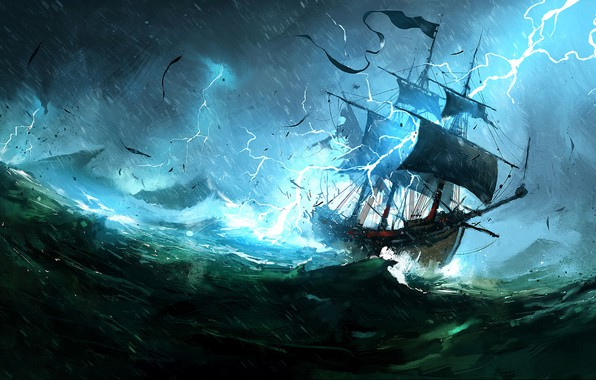 Picture The ocean, Sea, Lightning, Ship, Storm, Concept Art, Dominik Mayer, Environments, The Whaler, Storytelling, by …