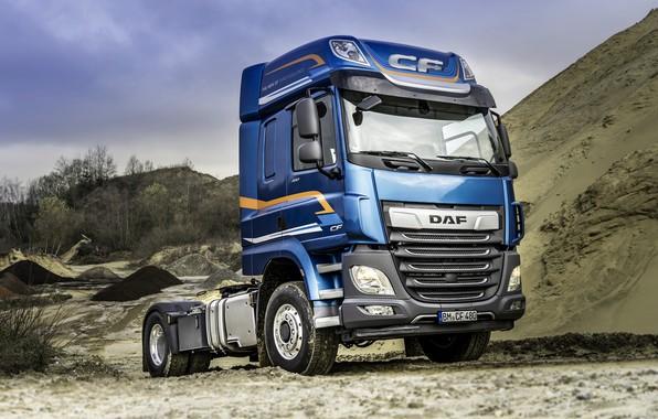 Picture sand, blue, truck, DAF, tractor, DAF, DAF CF, CF, DAF CF 480, biaxial