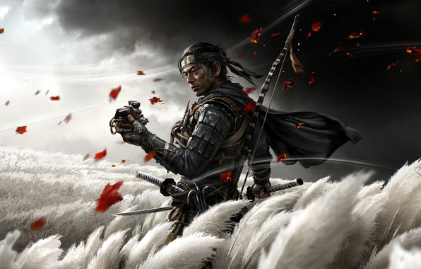 Picture field, foliage, katana, mask, bow, samurai, ninja, sony, play station 4, ghost of tsushima