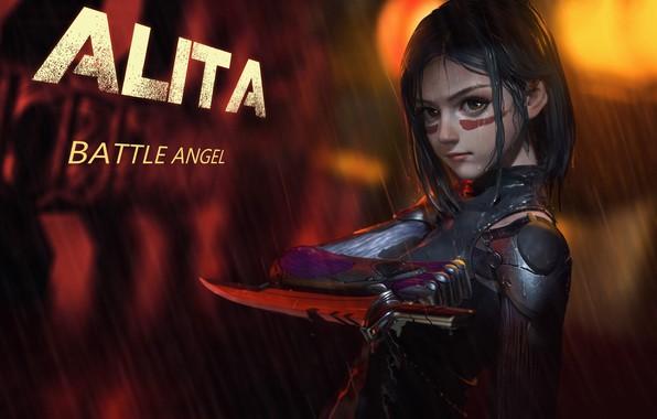 Picture girl, rain, weapon, anime, movie, film, artwork, warrior, cyborg, dagger, anime girl, Alita: Battle Angel