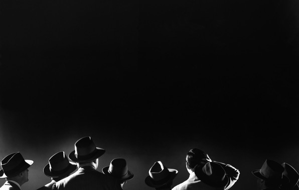 Picture the crowd, Noir, black and white photo, 20th century, men in hats