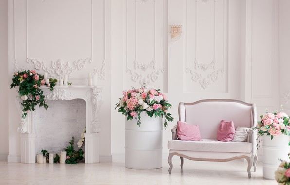 Picture flowers, sofa, interior, fireplace, box, decor, bouquets