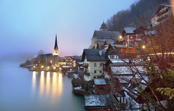 Picture fog, lake, photo, morning, Austria, Hallstatt