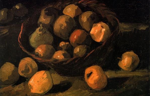 Picture basket, apples, pear, Vincent van Gogh, Basket of Apples