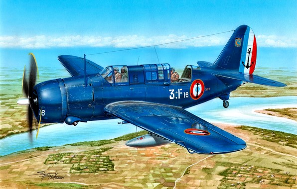Picture Deck, dive bomber, French Navy, Helldiver, SB2C-5