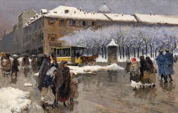 Picture Italian painter, Italian painter, Milan under the snow, Milan under the snow, Moses Bianchi, Oil …