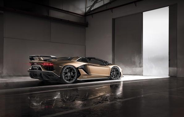Picture machine, light, smoke, Lamborghini, spoiler, sports car, drives, boxes, roadster, Aventador, SVJ