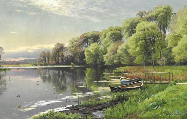 Picture Danish painter, Peter Merk Of Menstad, Peder Mørk Mønsted, 1894, Danish realist painter, oil on …