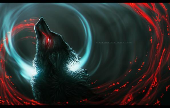 Picture wolf, predator, wool, werewolf, art, bloody tears, in the dark, burning eyes, black magic, Vyrosk