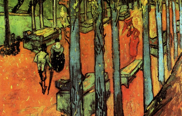 Picture trees, benches, Vincent van Gogh, Leaves, The Alyscamps, Falling Autumn, walking