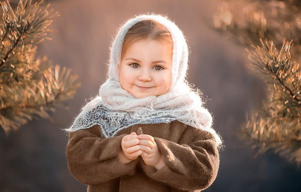 Picture branches, nature, girl, needles, shawl, coat, baby, child, pine